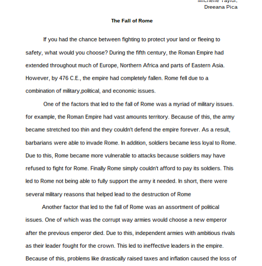 rome audrey torres the fall of rome essay